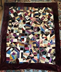 Vintage Victorian Silk Crazy Quilt Dated 1886 Rare