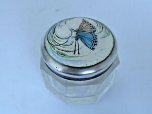 Antique Silver Guilloche Enamel Sachet Jar With A Butterfly