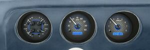 1969 Pontiac Gto Lemans Dakota Digital Carbon Fiber Blue Vhx Analog Gauge Kit