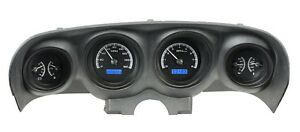 1969 70 Ford Mustang Dakota Digital Black Alloy Blue Vhx Analog Gauge Kit
