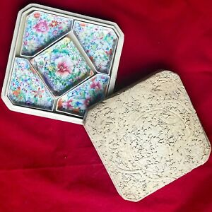 Chinese Famille Rose Porcelain Set Of 5 Dishes W White Carved Cinnabar Box