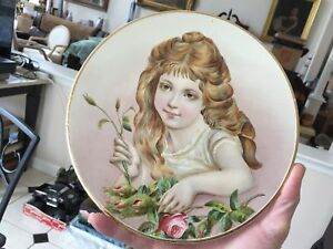 Antique Hand Painted Plate Plaque Charger Girl Child With Roses Victorian Nice