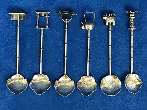 900 Sterling Silver Japanese Six Decorative Miniature Spoon Set