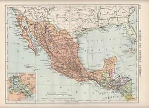 1923 Map Mexico Central America Guatemala Honduras Inset Panama Canal