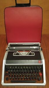 Vintage 1966 Olivetti Lettera Dl Typewriter W Red Case Made In Italy Working