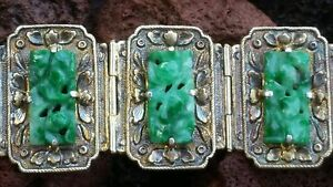 Antique Chinese Carved Jadeite Jade Gilt Silver Bracelet Womens Sz 7 25 Inches