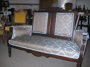 Victorian Renaissance Revival Parlor Settee New Upholstery Was 650 Now 475