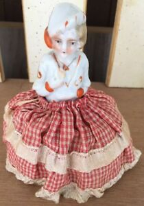Vintage Victorian Porcelain 5 Girl Figurine Pin Cushion Doll Red White Dress
