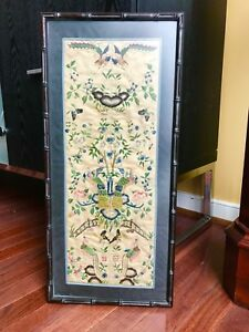 Antique Old Chinese Silk Embroidery Double Panel With Peakcooks Flowers