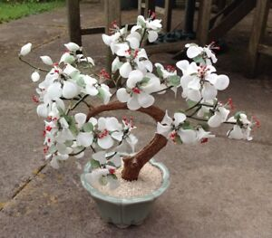 Vintage Asian Oriental Chinese Jade Style Bonsai Tree Planter White Floral
