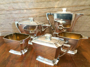 C1929 5 Pc Rogers Brothers Legacy Silverplate Art Deco Coffee Tea Service Set