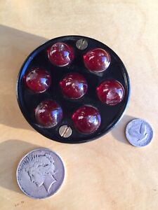 Vintage Red Glass Marbles License Plate Topper Reflector