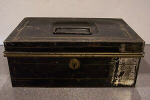 Vintage Metal Black Cash Money Box