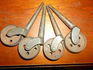 Antique Stainless Industrial Caster Wheels 3 Pegs 5 Total 4 Wheels