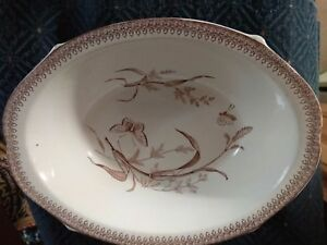 T R Boot Summertime Brown Transferware Ironstone Oval Bowl