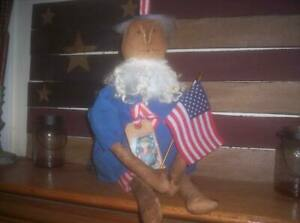Primitive Handmade Uncle Sam Doll Americana Patriotic Cloth Folk Art Folkart