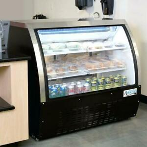Black Curved Glass Refrigerated Commercial Deli Display Case 47