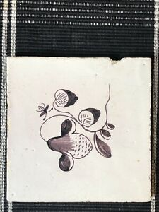 18th Century Dutch Delft Maganese Tile Classic Floral Early Tile