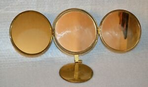 Vintage Brass Adjustable Swing Away Trifold Vanity Portable Makeup Mirror T4