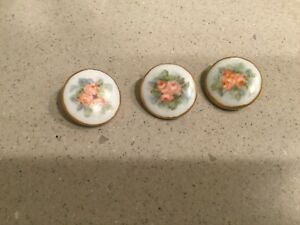 3 Antique Hand Painted Porcelain Limoges Buttons Studs Roses Gilt Trim 1
