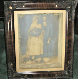 Antique 1800 S Ornate Shadowbox Wedding Photo Veil Flowers Stunning