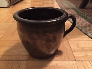 18th To Early 19th Century Redware Handled Hearth Cooking Pot New England Glaze