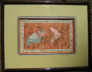 Antique Chinese Silk Embroidery Beautifully Framed And Matted Rank Badge