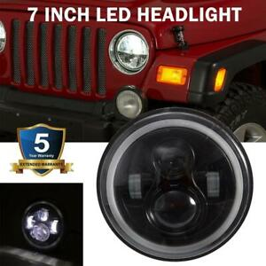 1x 7 Round Halo Angel Eye Cree Led Headlight Drl For Jeep Wrangler Cj Tj Lj Jk