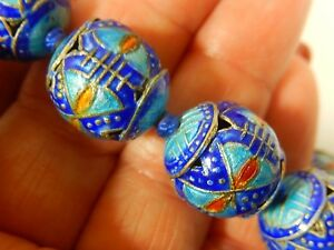 Rare Antique Chinese Intricate Kingfisher Blue Enameled Silver 16mm 27 Necklace
