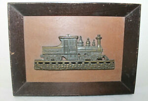 Vintage Train Steam Engine Brass On Wood Framed Shadow Box Picture