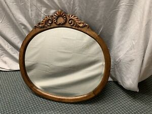 Antique Carved Wood Frame Round Oval Beveled Wall Mirror
