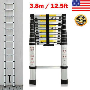 12 5 Ft Aluminium Telescopic Telescoping Ladder Extension Steps 330lb Capacity