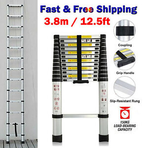 12 5ft Multi Purpose Aluminium Telescopic Ladder Extension Extendable 12 Steps