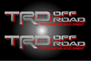 1 Pair Trd Off Road Silver Red Decals Vinyl Stickers Toyota Letters Trucks
