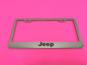 Jeep Stainless Steel Chrome Metal License Plate Frame Tag Holder W Screw Caps