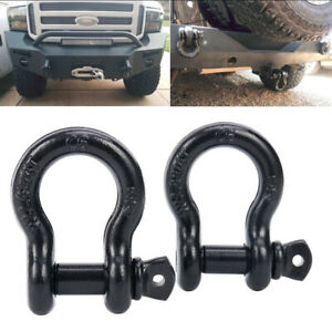 2 Pc 3 4 Black D Ring Shackle Jeep Off Road Towing Chain Bow Buckle 4 5t