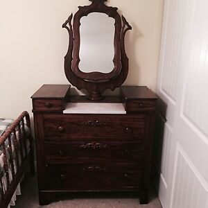 Antq Victorian Wooden Drop Center Marble Top Dresser W Mirror And Side Drawers