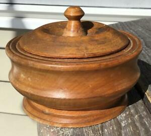 Antique Primitive Wooden Wood Turned Salt Box Bowl Cup Salt Spices Lid