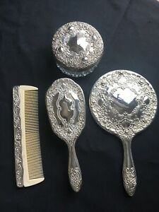 Vintage Vanity Set Silver Plated Hand Mirror Brush Comb Trinket Box Lot Of Four
