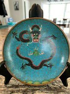 Fine Guangxu Period Cloisonne Dish Tray With Five Claw Dragon