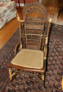 Antique 19th Century Heywood Wakefield Ornate Victorian Wood Wicker Rocker Chair