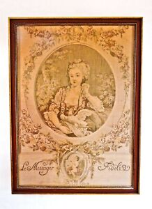 Antique Framed French Romantic Tapestry Le Messager Dove Delivers Love Letter