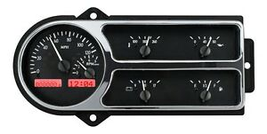 1948 50 Ford F1 Truck Pickup Dakota Digital Black Alloy Red Vhx Gauge Kit
