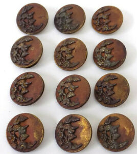 12 Old 1 Brass Buttons Raised Fantasy Flowers Bronze Color Finish As Is