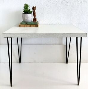 Vintage Mid Century Mcm Table Atomic Formica White Boomerang Metal Hairpin Legs