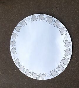Vintage Round Art Deco Wall Mirror Etched Leaves