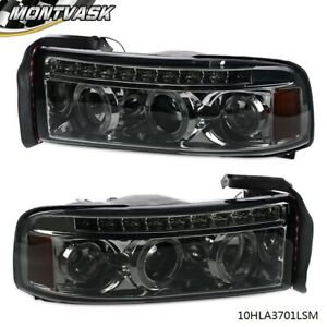 For Dodge Ram 1994 2001 1500 2500 3500 Smoked Led Halo Projector Headlights