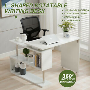 Convertible L Shape Computer Desk 360 Rotary Turntable Home Office Corner Work