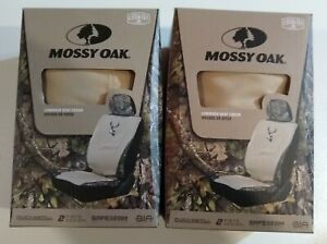 Set Of 2 Mossy Oak Khaki Universal Camo Lowback Seat Cover Break Up Country