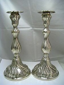 Pair Of Shabbat Silver Candlesticks Candle Holders 800 Silver Israel C1960s Rare